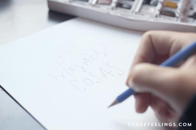 boceto lápiz lettering con acuarela