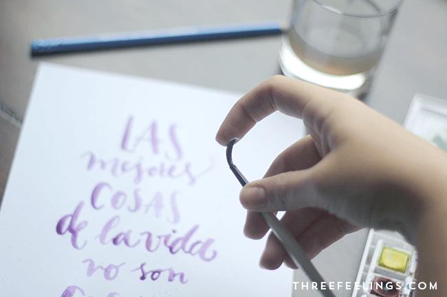 lettering con acuarela paso a paso