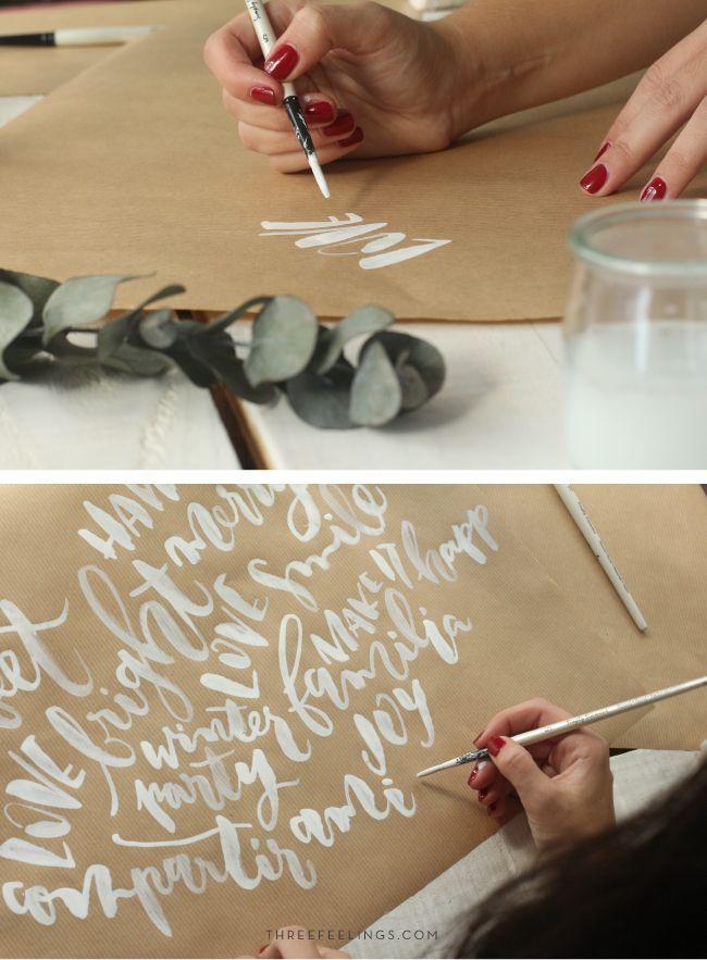 tutorial para envolver regalos - lettering