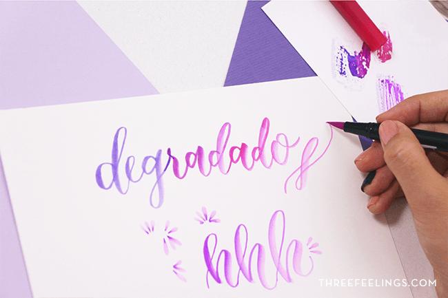 lettering de tres colores de degradados con rotuladores