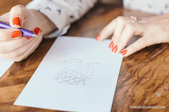 calígrama con caligrafía bocetos