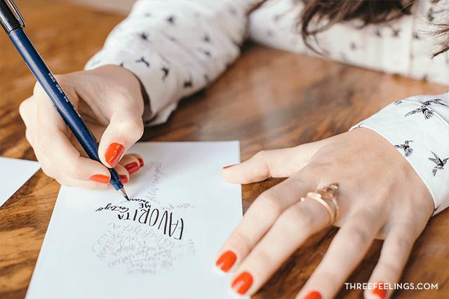 calígrama con caligrafía repasar