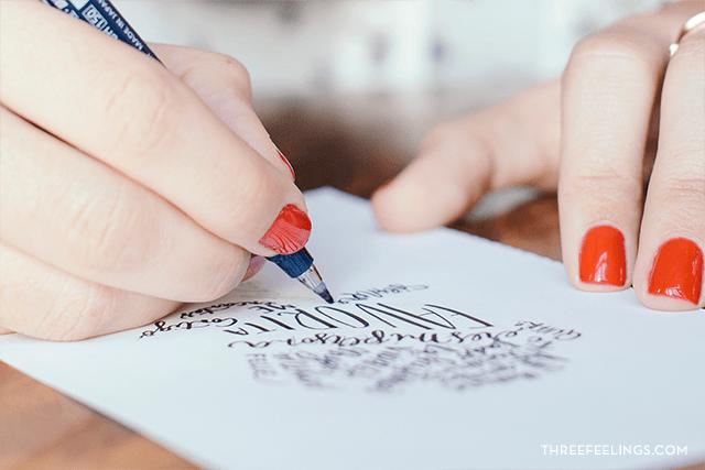 calígrama con caligrafía 01