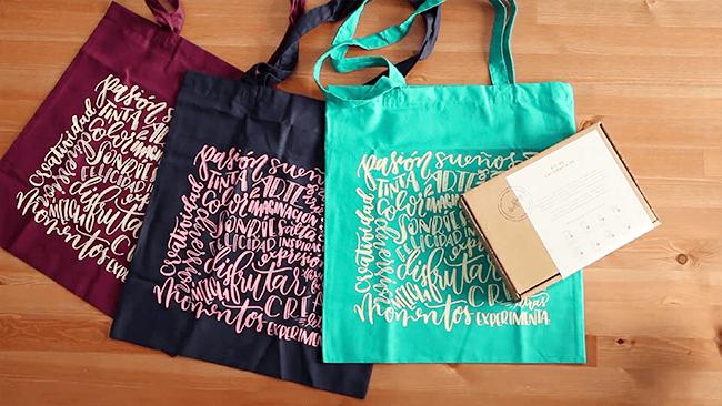 kit de caligrafía totebags de colores