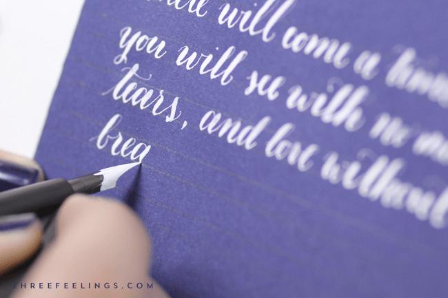 caligrafia con tinta blanca - proceso