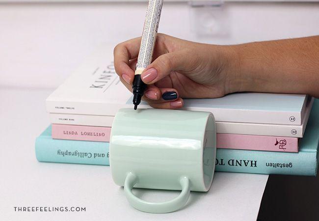 colocar la taza para escribir mejor
