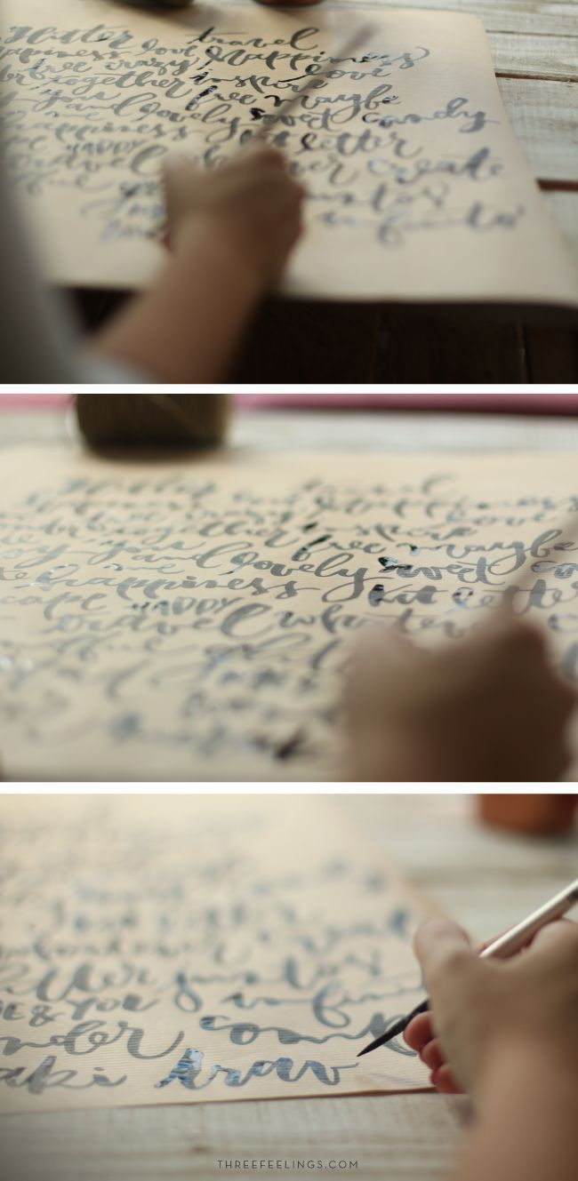tutorial para envolver regalos - lettering sobre papel