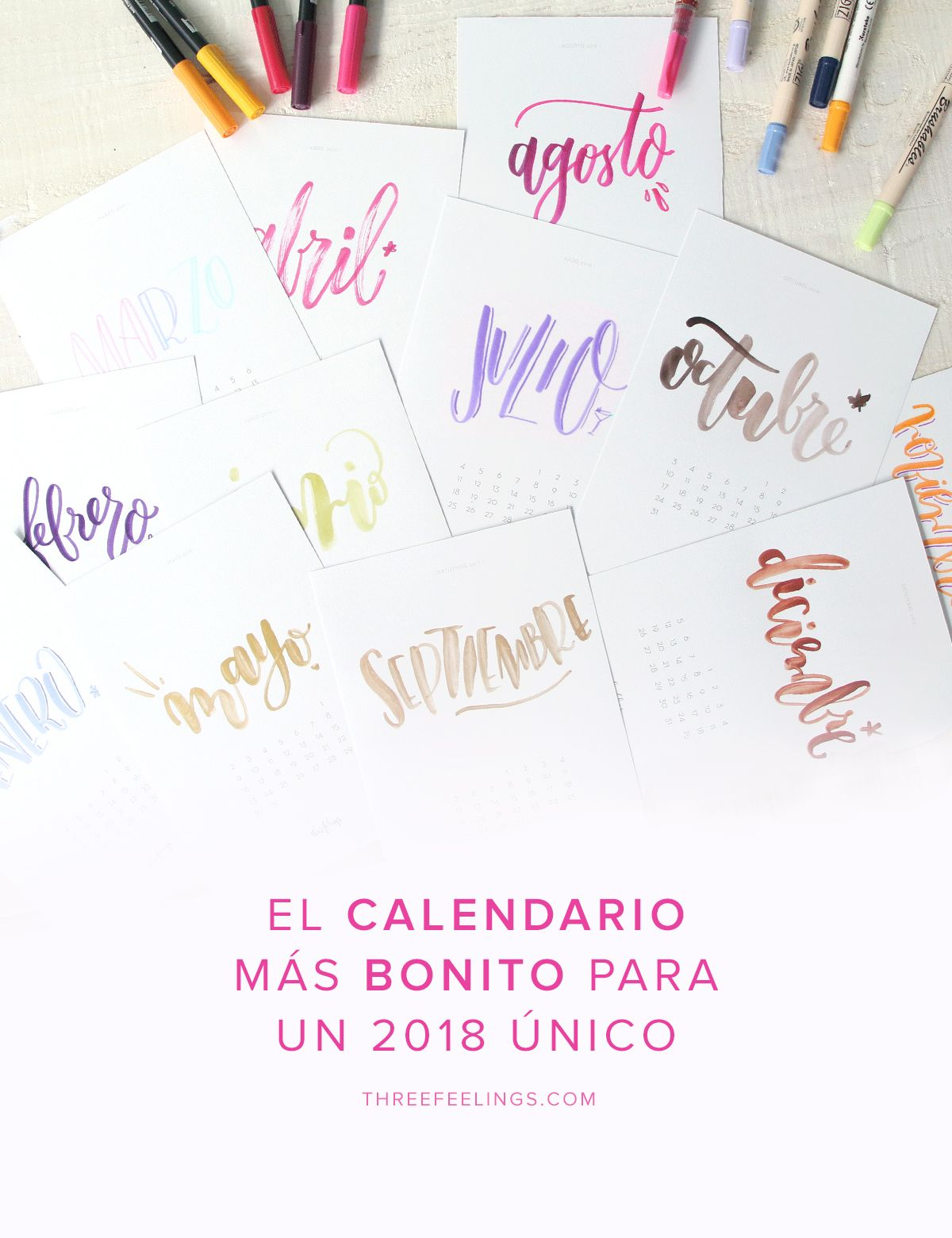 Calendario 2019 Letras Grandes Para Imprimir.Descargable Calendario 2018 Con Lettering Y Mucho Color