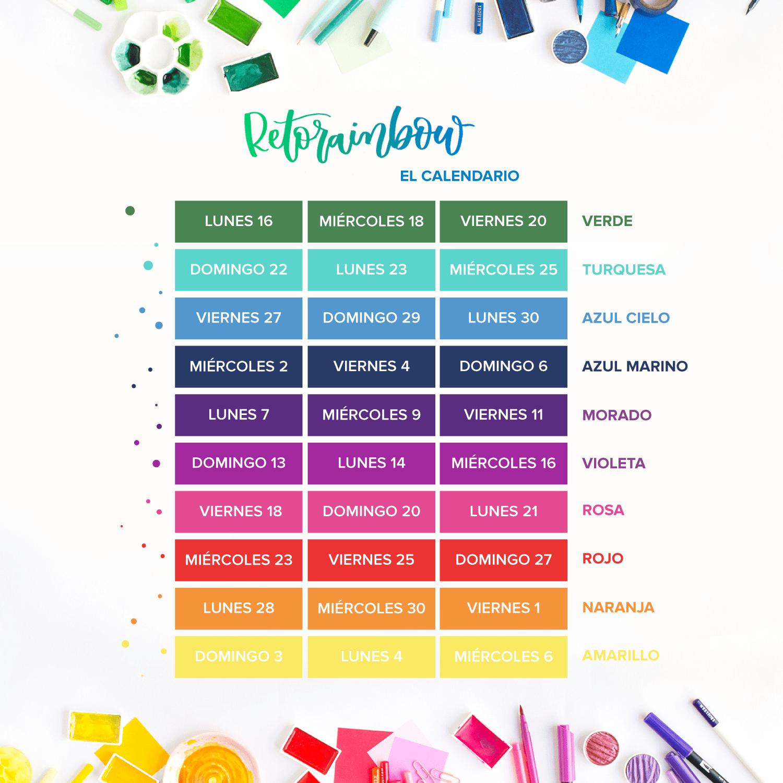 Calendario Rainbow.Calendario Reto Lettering Letrasbonitas Threefeelings
