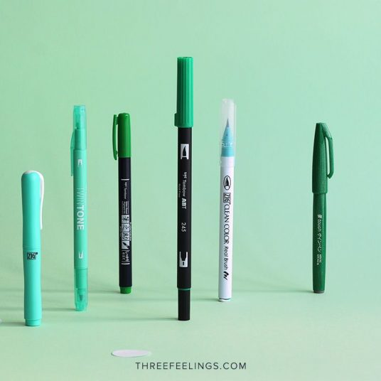 02-pack-rotuladores-monocromaticos-lettering-threefeelings-verde