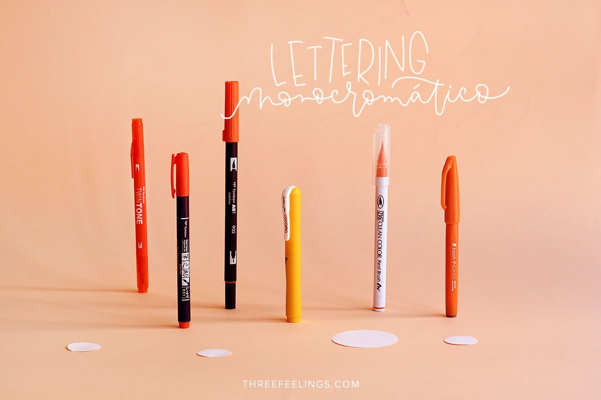 01-pack-rotuladores-monocromaticos-lettering-threefeelings-naranja
